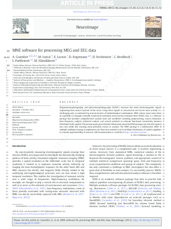 PDF) MNE software for processing MEG and EEG data