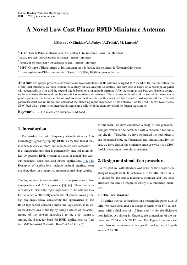 PDF) A Novel Low Cost Planar RFID Miniature Antenna | Otman
