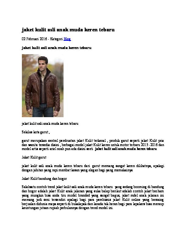 DOC) jaket kulit asli anak muda keren tebaru  2ea1beeb12