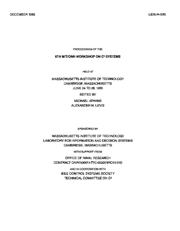 PDF) Proceedings of the 8th MIT/ONR Workshop on C[3] Systems, held