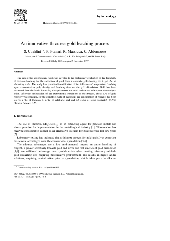 PDF) An innovative thiourea gold leaching process | Stefano