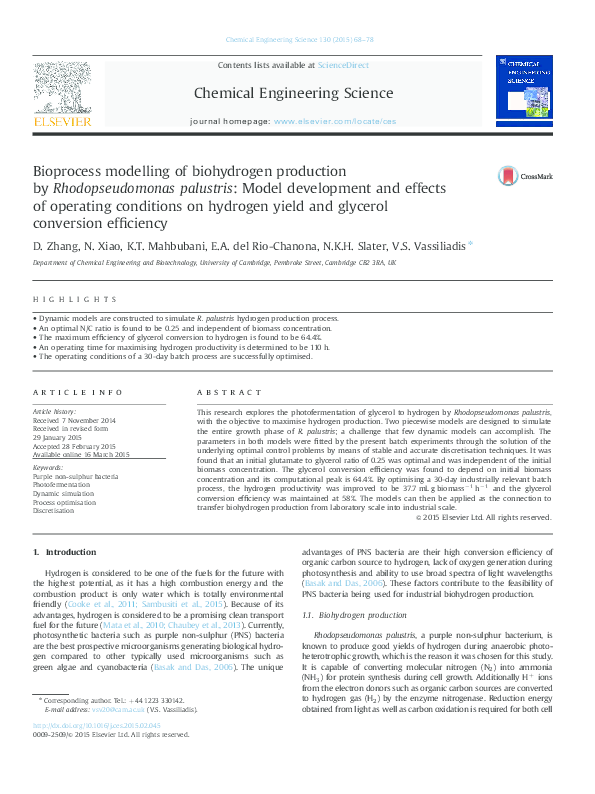 PDF) Bioprocess modelling of biohydrogen production by