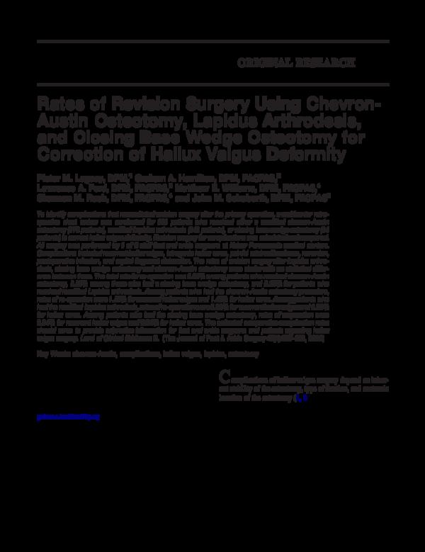 PDF) Rates of revision surgery using Chevron-Austin osteotomy