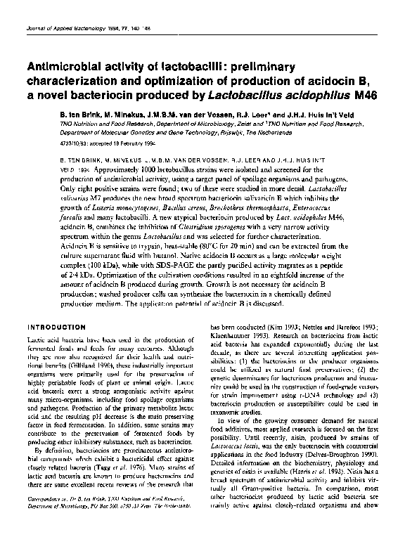 PDF) Antimicrobial activity of lactobacilli: preliminary