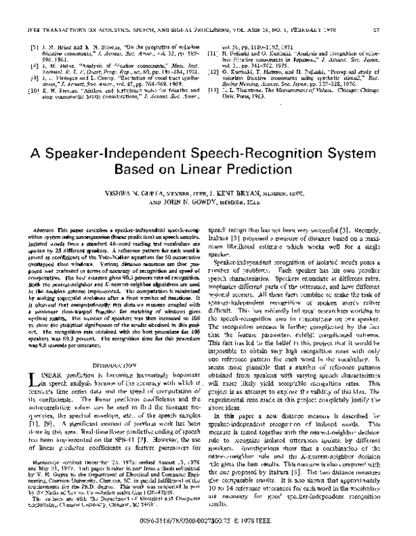 PDF) Speaker independent speech recognition system and method