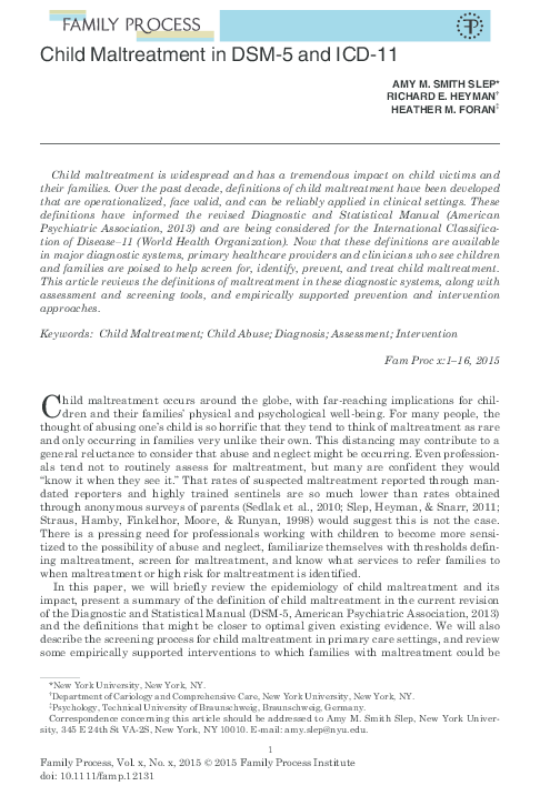 PDF) Child Maltreatment in DSM-5 and ICD-11 | Amy Slep