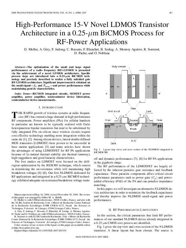 PDF) High-Performance 15-V Novel LDMOS Transistor