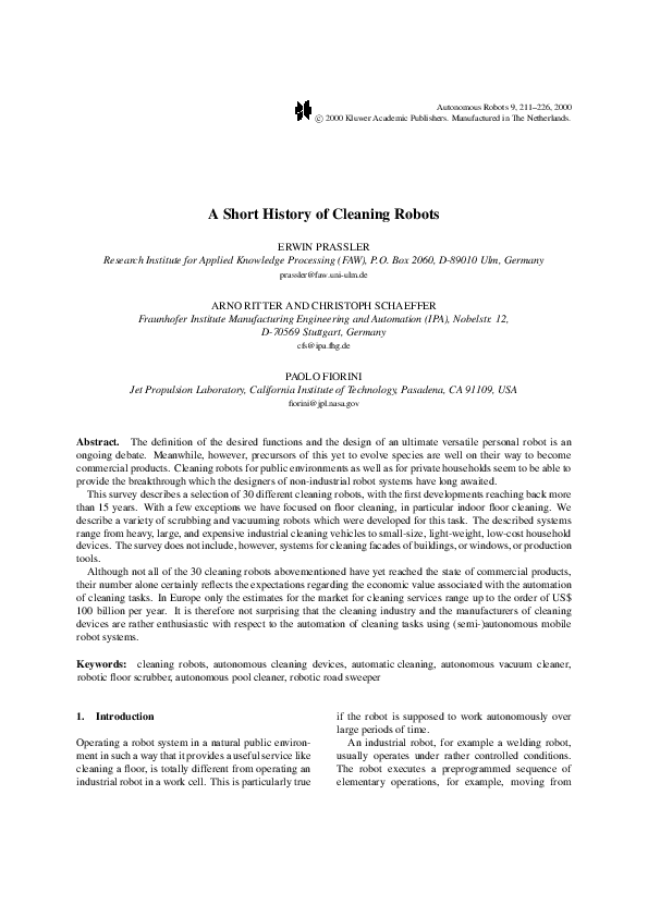 PDF) A Short History of Cleaning Robots | Erwin Prassler - Academia edu