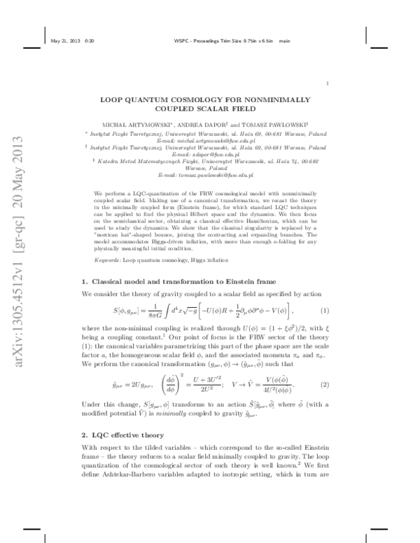 PDF) Loop Quantum Cosmology for Nonminimally Coupled Scalar Field