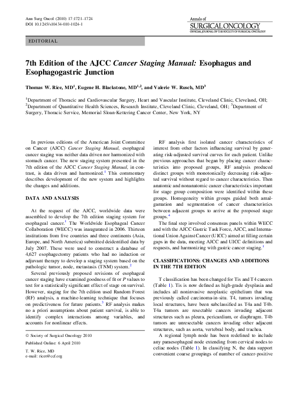 PDF) 7th Edition of the AJCC Cancer Staging Manual