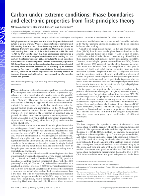 PDF) Carbon under extreme conditions: Phase boundaries and