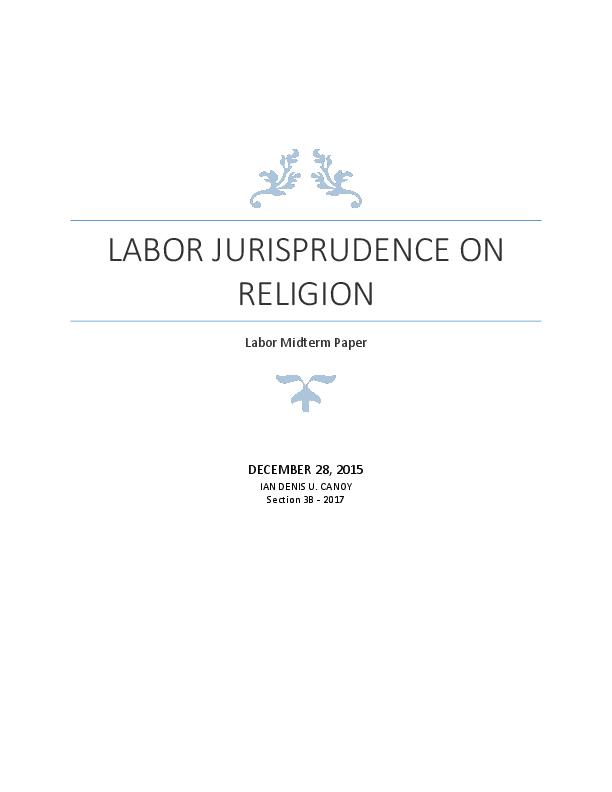 Philippine Labor Jurisprudence On Religion Ian Canoy Academia