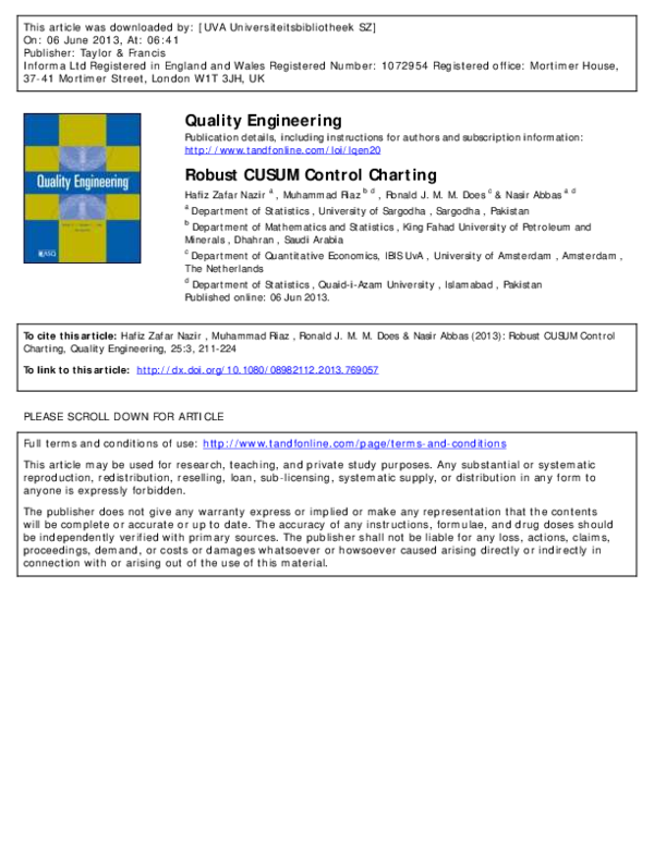PDF) Robust CUSUM Control Charting | Nasir A R Syed - Academia edu