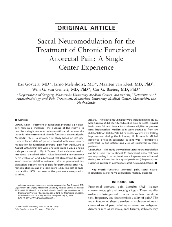 PDF) Sacral Neuromodulation for the Treatment of Chronic