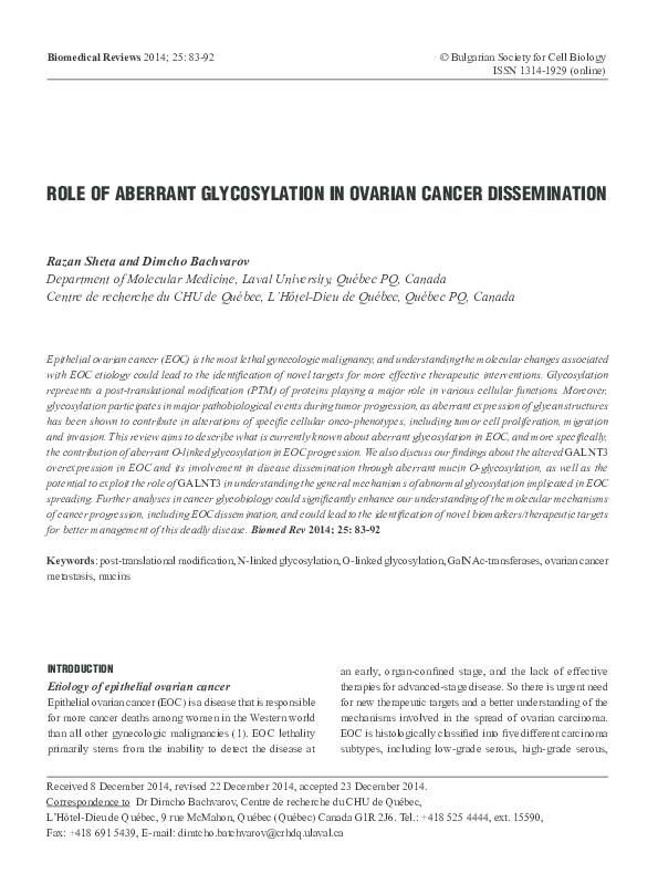 Pdf Role Of Aberrant Glycosylation In Ovarian Cancer