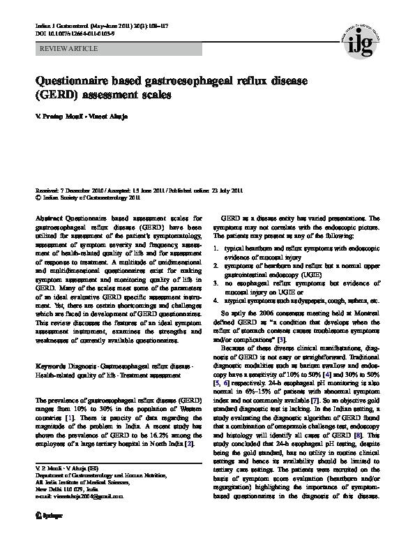 PDF) Questionnaire based gastroesophageal reflux disease (GERD