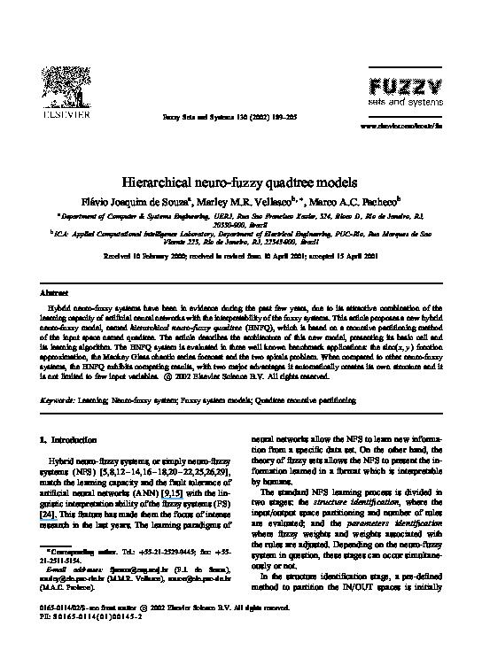 PDF) Hierarchical neuro-fuzzy quadtree models | Marley