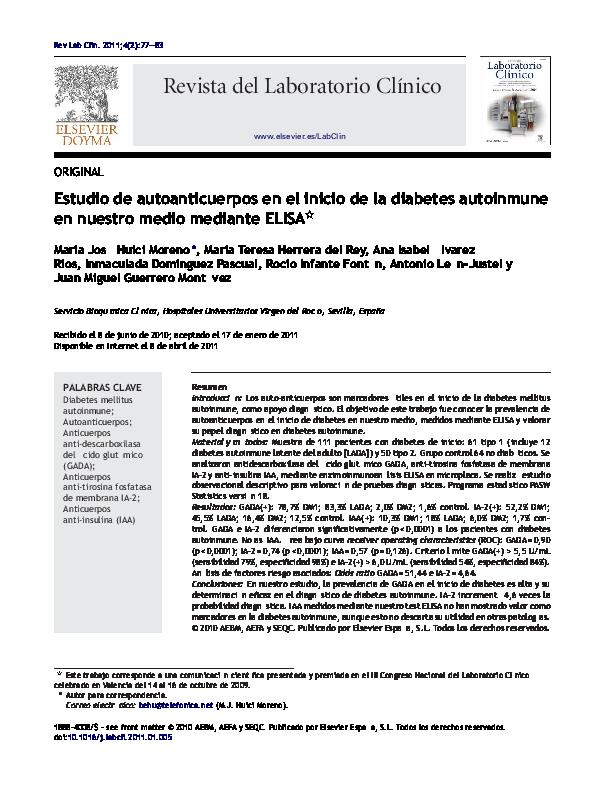 detección de anticuerpos de gad65 diabetes tipo 2