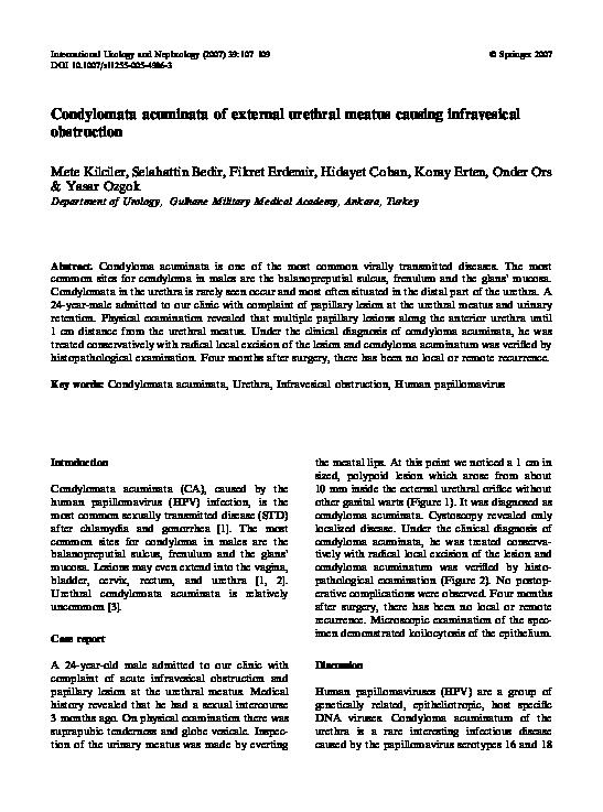 condyloma acuminata humán papillomavírus