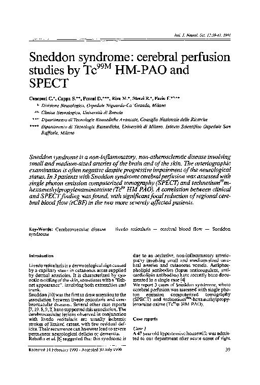 PDF) Sneddon syndrome: Cerebral perfusion studies by Tc99M