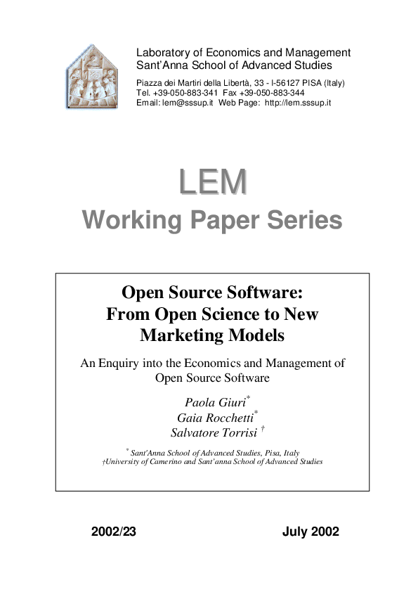 PDF) Open source software: From open science to new marketing models