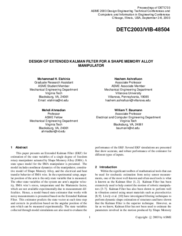 Design of Extended Kalman Filter for a Shape Memory Alloy