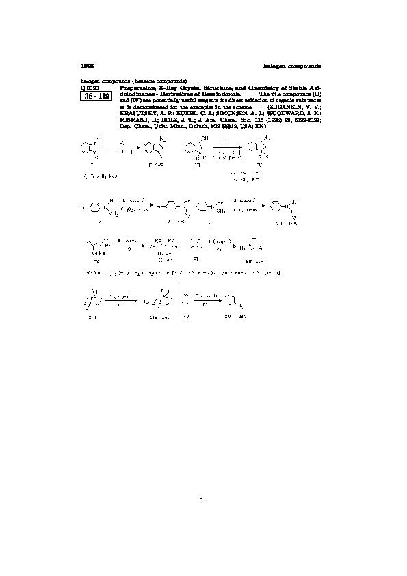 PDF) ChemInform Abstract: Preparation, X-Ray Crystal