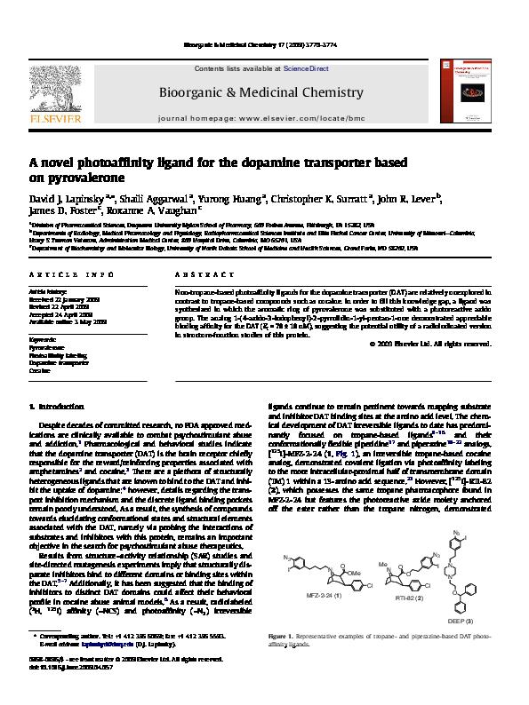 PDF) A novel photoaffinity ligand for the dopamine
