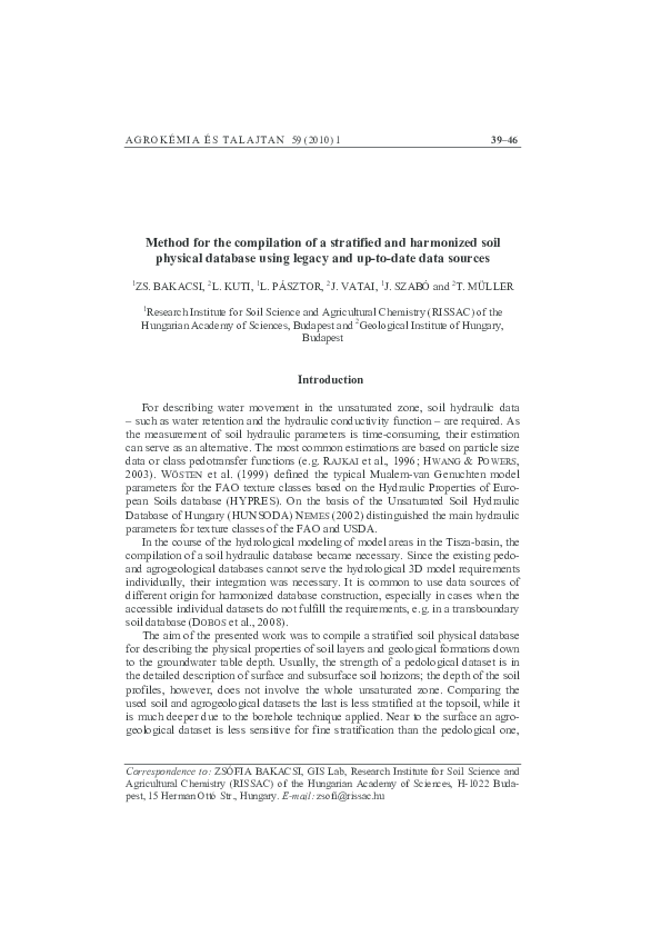 PDF) Method for the compilation of a stratified and