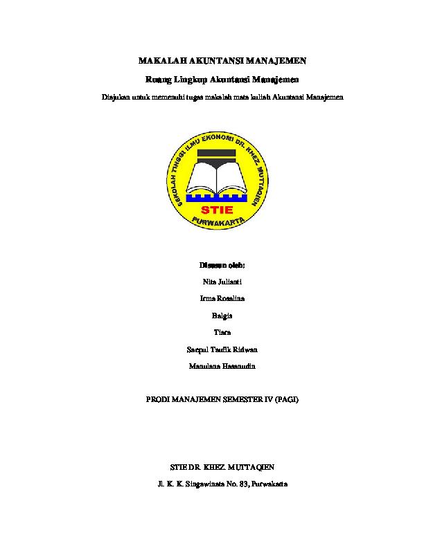 Pdf Makalah Akuntansi Manajemen Ruang Lingkup Akuntansi Manajemen Nita Julianti Academia Edu