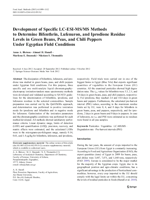 PDF) Development of Specific LC-ESI-MS/MS Methods to Determine