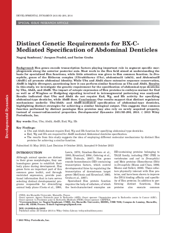 PDF) Distinct genetic requirements for BX-C-mediated specification