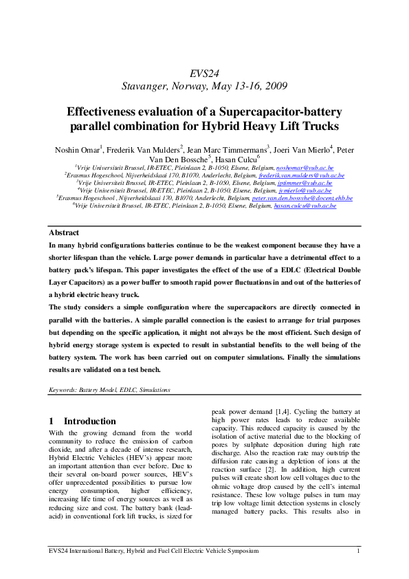 PDF) Effectiveness evaluation of a supercapacitor-battery