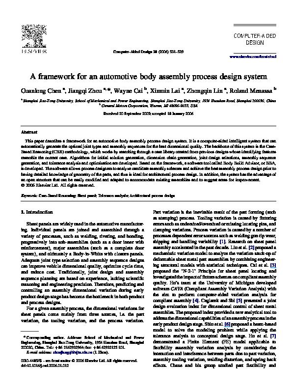 PDF) A framework for an automotive body assembly process