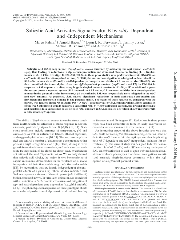 PDF) Salicylic Acid Activates Sigma Factor B by rsbU