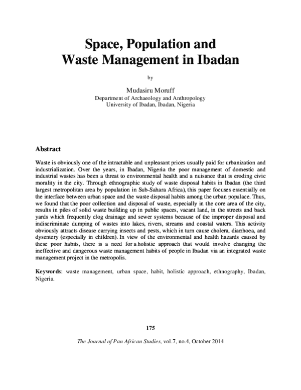 PDF) Space, Population and Waste Management in Ibadan | Moruff