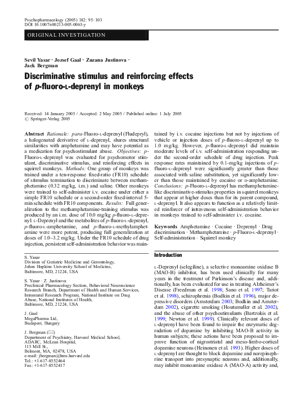 PDF) Discriminative stimulus and reinforcing effects of p -fluoro- l