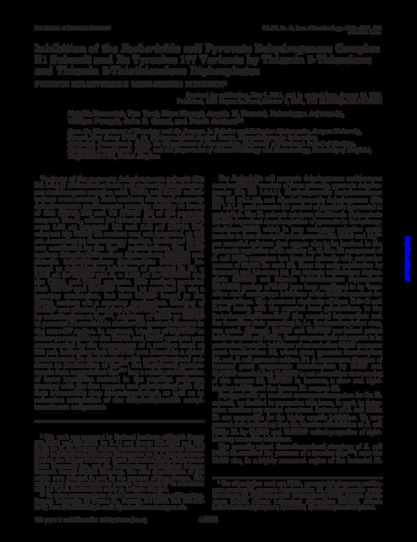 PDF) Inhibition of the Escherichia coli Pyruvate Dehydrogenase