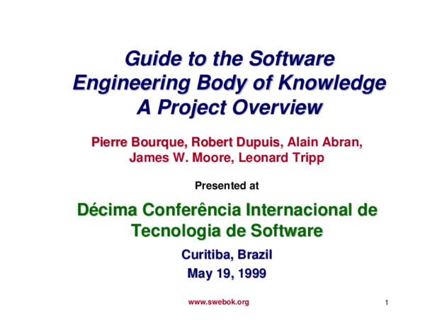 PDF) The guide to the Software Engineering Body of Knowledge