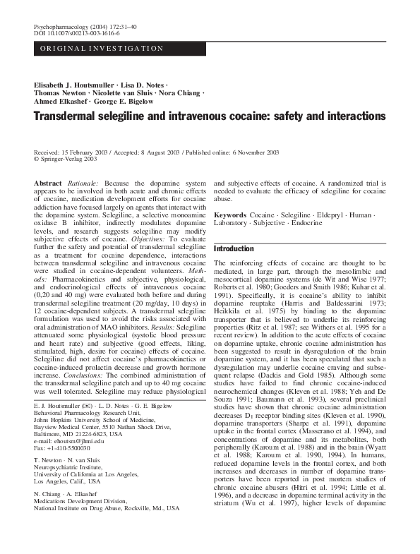 PDF) Transdermal selegiline and intravenous cocaine: safety and