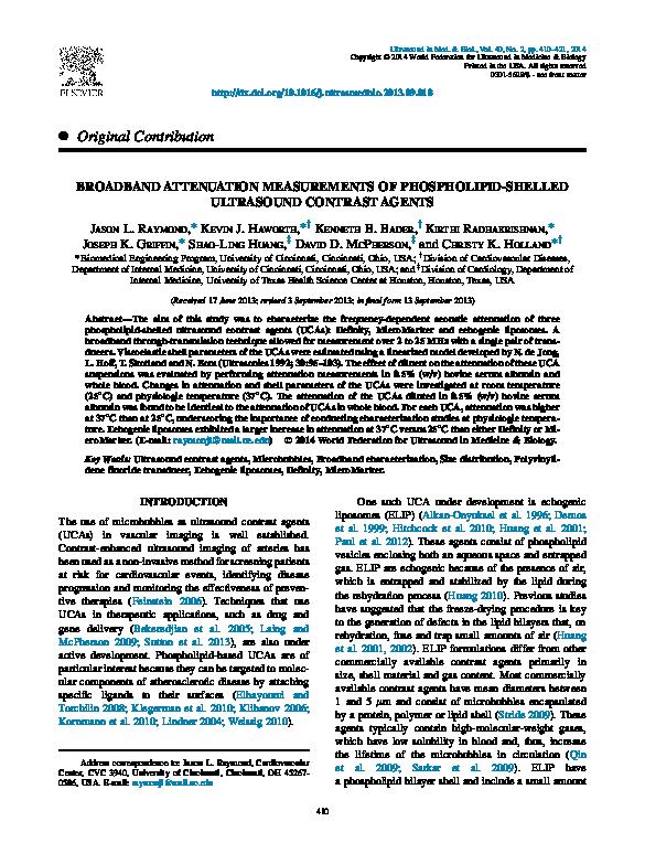 PDF) Broadband attenuation measurements of phospholipid-shelled