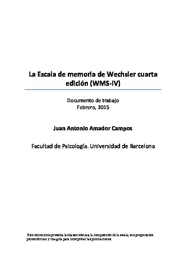 Pdf La Escala De Memoria De Wechsler Cuarta Edición Wms Iv Naty Baldo Academia Edu