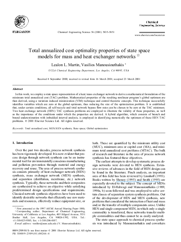 PDF) Total annualized cost optimality properties of state
