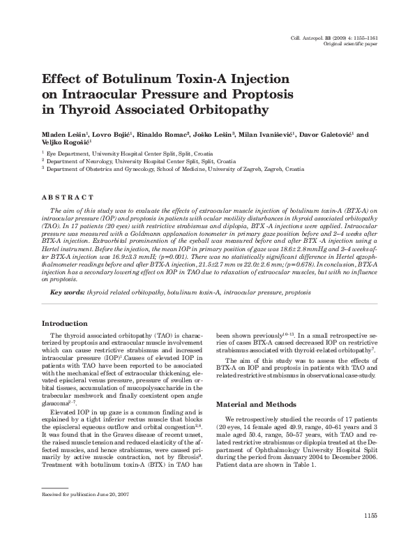 PDF) Afect of botulinum toxin-A injection on intraocular