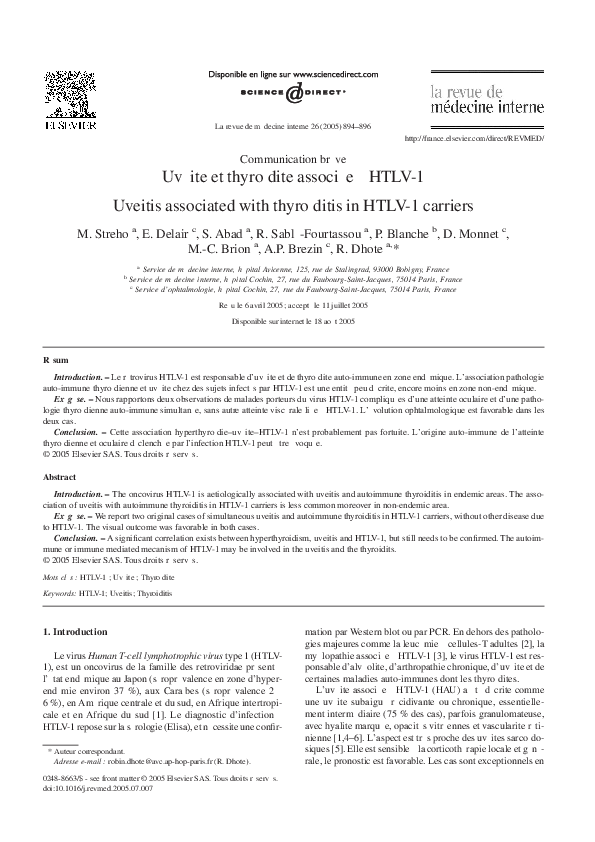 PDF) Uvéite et thyroïdite associée à HTLV-1 | Sebastien Abad ...