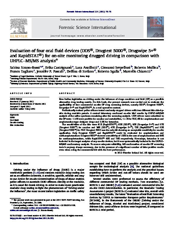 PDF) Evaluation of four oral fluid devices (DDS®, Drugtest