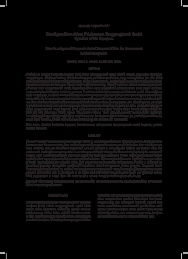 Pdf Paradigma Baru Dalam Pelaksanaan Tanggungjawab Sosial Syarikat Milik Kerajaan New Paradigms Of Corporate Social Responsibilities For Government Linked Companies Suraiya Ishak Academia Edu