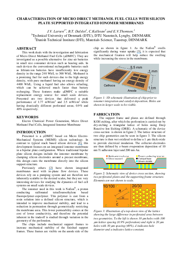 PDF) Characterisation of micro direct methanol fuel cells with