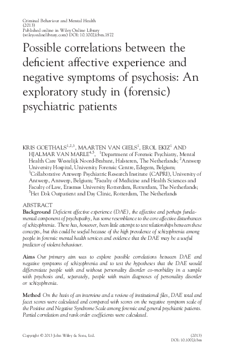 Possible Correlations Between The Deficient Affective Experience And
