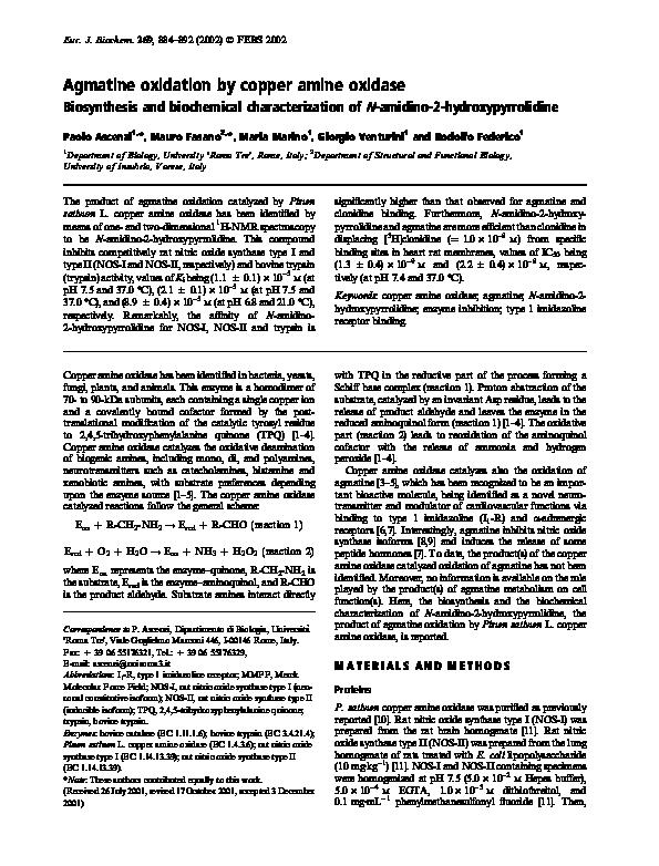PDF) Agmatine oxidation by copper amine oxidase | Giorgio Venturini